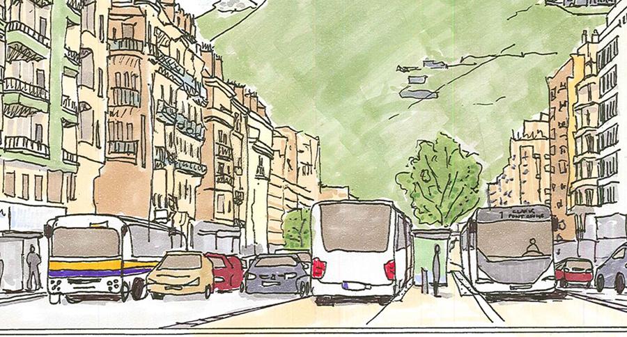 voirie bus en site propre grenoble france lynda harris paysagiste. Black Bedroom Furniture Sets. Home Design Ideas
